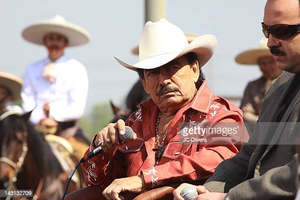 Singer Joan Sebastian attends Joan Sebastian Pepe Aguilar announcement of their upcoming tour 'Dejando Huella Una Historia Musical' with special...