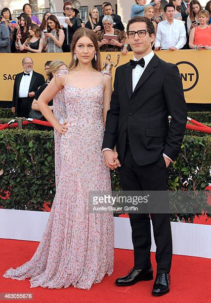 Singer Joanna Newsom and actor Andy Samberg arrive at the 21st Annual Screen Actors Guild Awards at The Shrine Auditorium on January 25 2015 in Los...