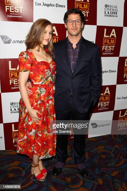 Singer Joanna Newsom and Andy Samberg attend the Celeste and Jesse Forever QA at the 2012 Los Angeles Film Festival held at Regal Cinemas LA Live on...