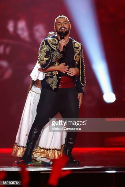 Singer Joci Papai representing Hungary performs the song 'Origo' during the rehearsal for ''The final of this year's Eurovision Song Contest'' at...