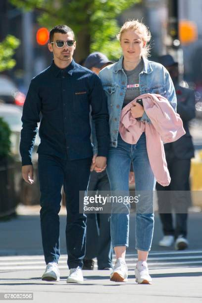 Singer Joe Jonas and actress Sophie Turner are seen in the East Village on May 3, 2017 in New York City.