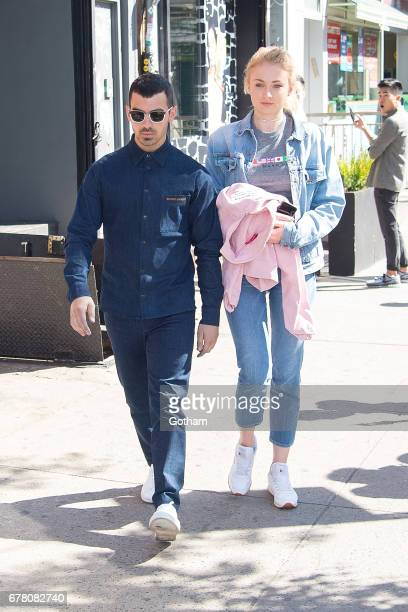 Singer Joe Jonas and actress Sophie Turner are seen in the East Village on May 3 2017 in New York City