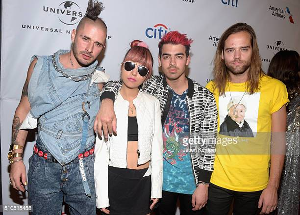 Singer Joe Jonas and DNCE attend Universal Music Group 2016 Grammy After Party presented by American Airlines and Citi at The Theatre at Ace Hotel...