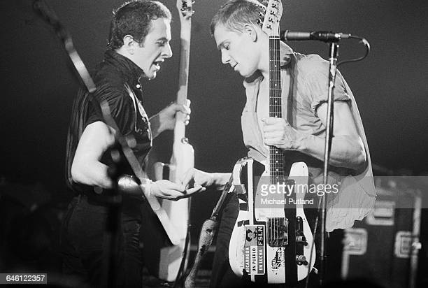 Singer Joe Strummer and bassist Paul Simonon performing with British punk group The Clash, New York, September 1979.