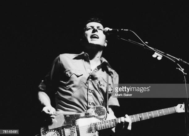 Singer Joe Strummer formerly of British punk band The Clash performing with his band Latino Rockabilly War at the Town Country Club London 13th...