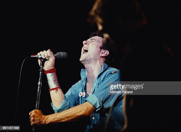 Singer Joe Strummer , of British punk group The Clash, performing in New York, September 1979.
