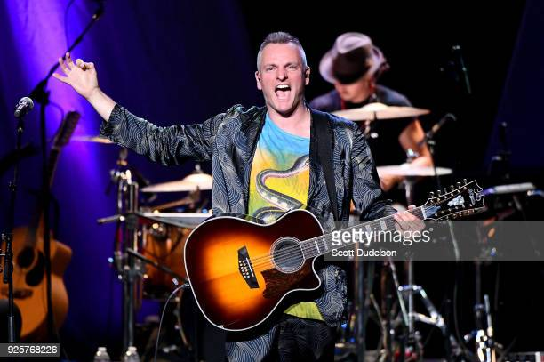 Singer Joe Sumner of the band Fiction Plane appears onstage as a special guest during the 2018 Celebrating David Bowie tour stop at The Wiltern on...