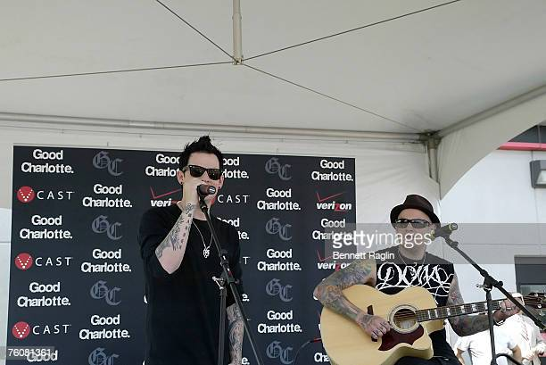 Singer Joel Madden and Benji Madden of Good Charlotte performs live at the Verizon Wireless Communications Store, Woodbridge New Jersey.
