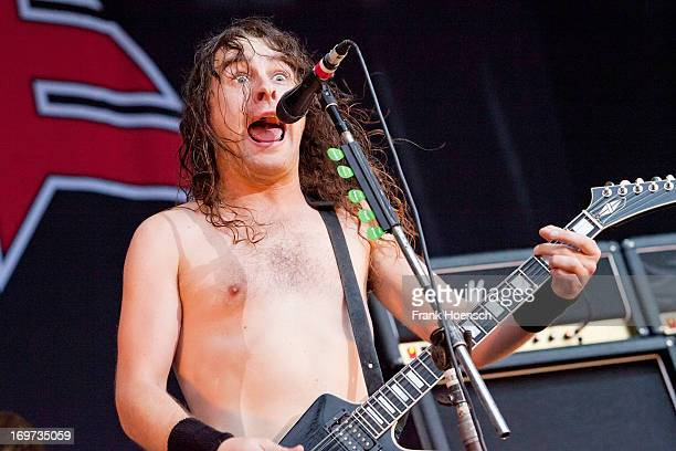 Singer Joel O'Keeffe of Airbourne performs live in support of Volbeat during a concert at the Kindlbuehne Wuhlheide on May 31 2013 in Berlin Germany