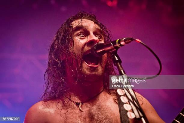 Singer Joel OKeeffe of the Australian band Airbourne performs live on stage during a concert at the Huxleys on October 27 2017 in Berlin Germany