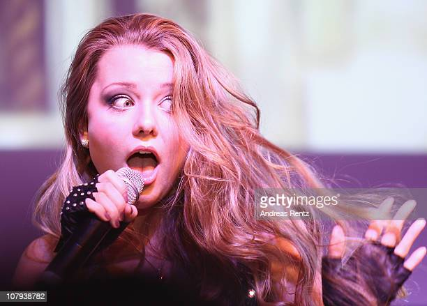Singer Joelina Drews 15 year old daughter of singer Juergen Drews performs on stage at the Berlin Press Ball 2011 at the Ullstein hall on January 8...