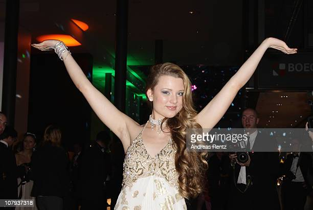 Singer Joelina Drews arrives at the Berlin Press Ball 2011 at the Ullstein hall on January 8 2011 in Berlin Germany