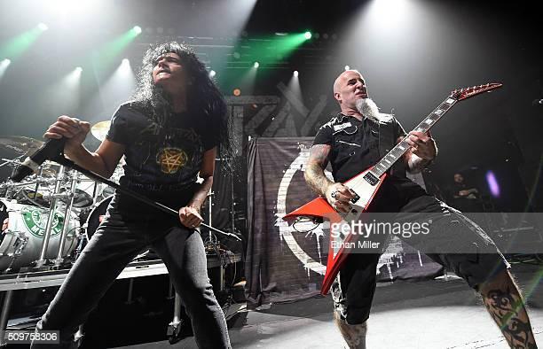 Singer Joey Belladonna and guitarist Scott Ian of Anthrax perform at Brooklyn Bowl Las Vegas at The LINQ Promenade on February 11 2016 in Las Vegas...