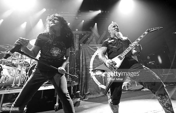 Singer Joey Belladonna and guitarist Scott Ian of Anthrax perform at Brooklyn Bowl Las Vegas at The LINQ Promenade on February 11 2016 in Las Vegas...