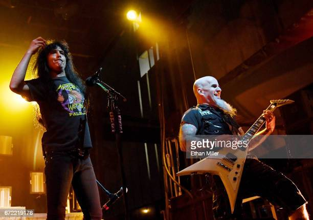 Singer Joey Belladonna and guitarist Scott Ian of Anthrax perform during the Las Rageous music festival at the Downtown Las Vegas Events Center on...