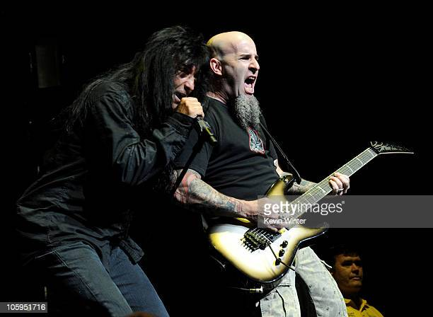 Singer Joey Belladonna and musician Scott Ian of Anthrax perform at the Gibson Amphitheatre on October 21 2010 in Universal City California