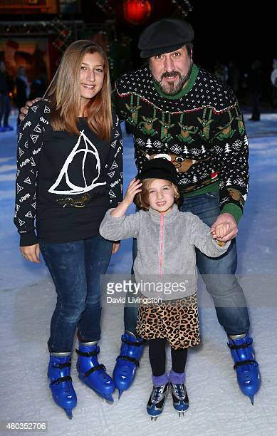 Singer Joey Fatone and children Briahna Joely Fatone and Kloey Alexandra Fatone attend Disney On Ice presents Let's Celebrate at Staples Center on...