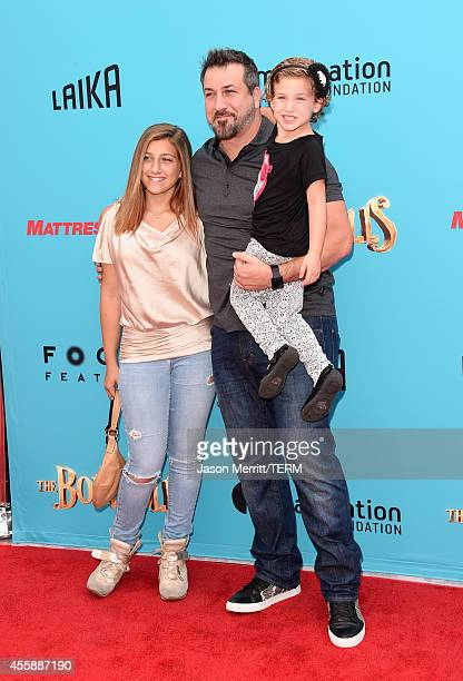 Singer Joey Fatone and daughters Briahna Joely Fatone and Kloey Alexandra Fatone attend the premiere of Focus Features' The Boxtrolls Red Carpet at...