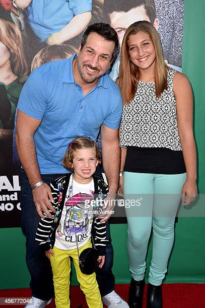 Singer Joey Fatone Briahna Joely Fatone and Kloey Alexandra Fatone attend the premiere of Disney's Alexander and the Terrible Horrible No Good Very...