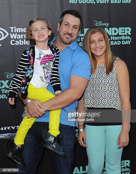 Singer Joey Fatone Briahna Joely Fatone and Kloey Alexandra Fatone arrive at the Los Angeles Premiere of 'Alexander And The Terrible Horrible No Good...