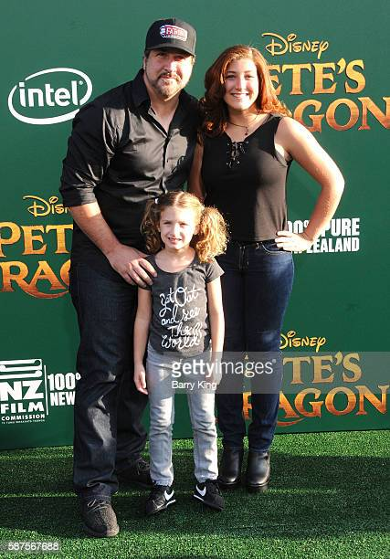 Singer Joey Fatone daughter Kloey Alexandra Fatone and his wife Kelly Baldwin attend the World Premiere of Disney's' 'Pete's Dragon' at the El...
