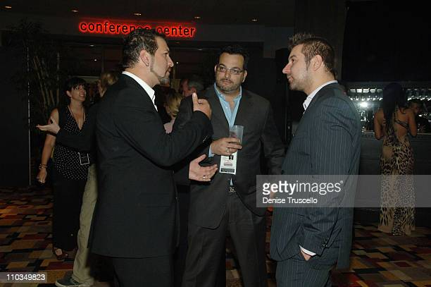 Singer Joey Fatone Joe Mulvihill and a member of Finger Eleven attend the 2008 Miss USA Competition After Party at Planet Hollywood Resort Casino on...