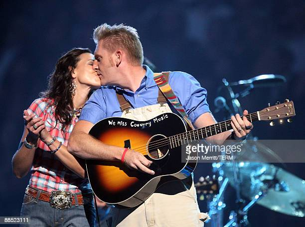 Singer Joey Martin Feek and Rory Lee Feek of Joey Rory perform on stage during the 2009 CMT Music Awards at the Sommet Center on June 16 2009 in...