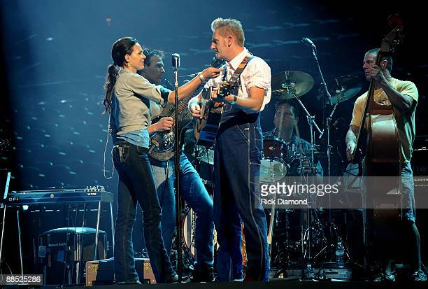 Singer Joey Martin Feek and Rory Lee Feek of Joey Rory rehearse for the 2009 CMT Music Awards at the Sommet Center on June 16 2009 in Nashville...