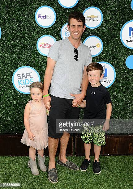 Singer Joey McIntyre Kira Katherine McIntyre and Griffin Thomas McIntyre attend Safe Kids Day at Smashbox Studios on April 24 2016 in Culver City...