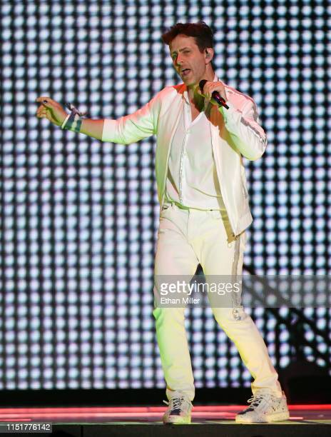 Singer Joey McIntyre of New Kids on the Block performs during a stop of the Mixtape Tour at the Mandalay Bay Events Center on May 25 2019 in Las...