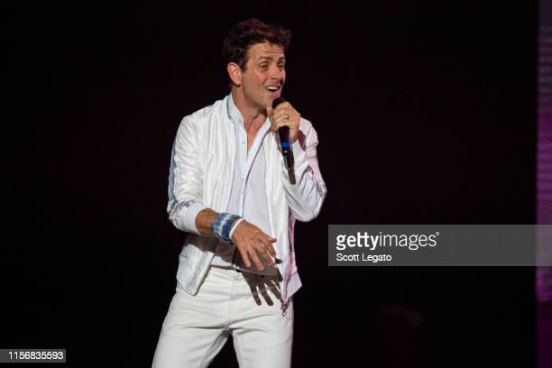 Singer Joey McIntyre of New Kids on the Block performs during a stop of the Mixtape Tour at Little Caesars Arena on June 18 2019 in Detroit Michigan