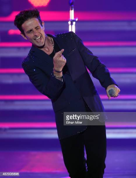 Singer Joey McIntyre of New Kids on the Block performs during the first show of the group's four-night run at The Axis at Planet Hollywood Resort &...