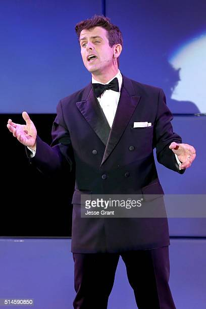 Singer Joey McIntyre performs onstage during the 24th and final A Night at Sardi's to benefit the Alzheimer's Association at The Beverly Hilton Hotel...
