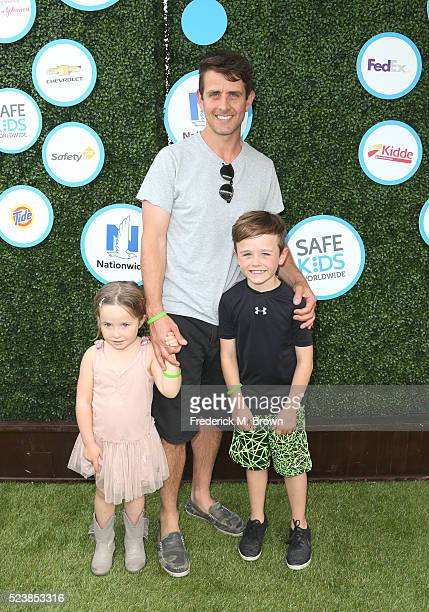 Singer Joey McIntyre with children Kira Katherine McIntyre and Griffin Thomas McIntyre attend Safe Kids Day at Smashbox Studios on April 24 2016 in...