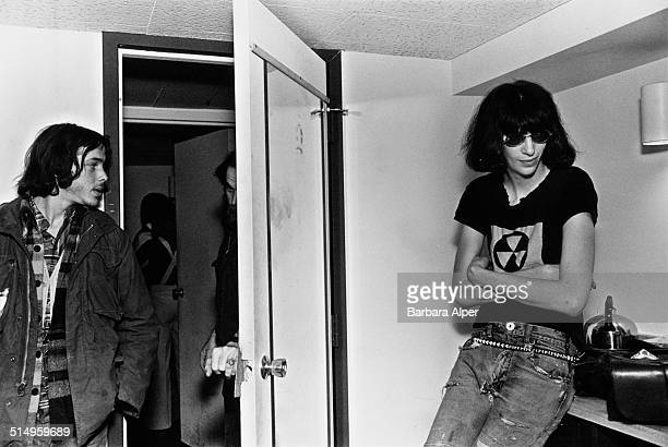 Singer Joey Ramone of American punk group The Ramones backstage at the Paradise Theater in Boston Massachusetts 22nd March 1978