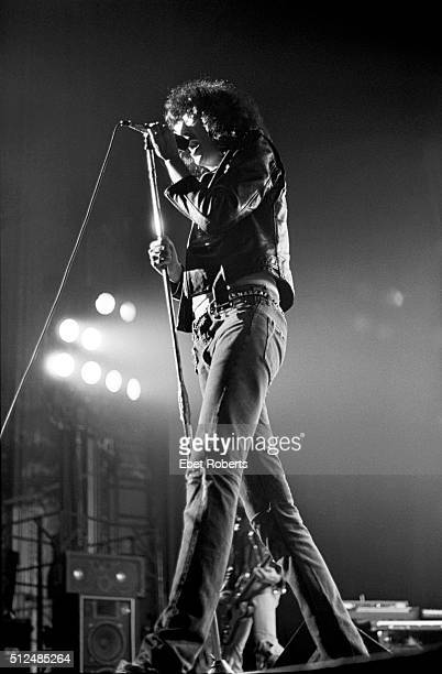 Singer Joey Ramone performing with American punk rock band The Ramones at the Palladium in New York City on October 6 1977