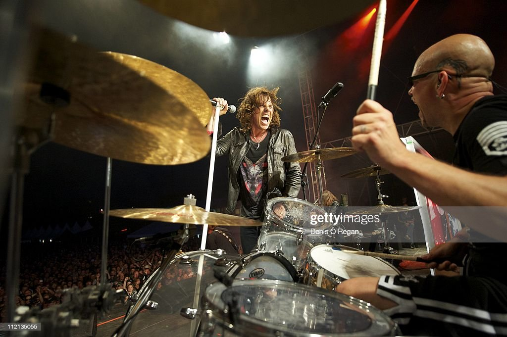 Singer Joey Tempest and drummer Ian Haugland of Swedish hard rock band Europe live in Finland, July 2010.