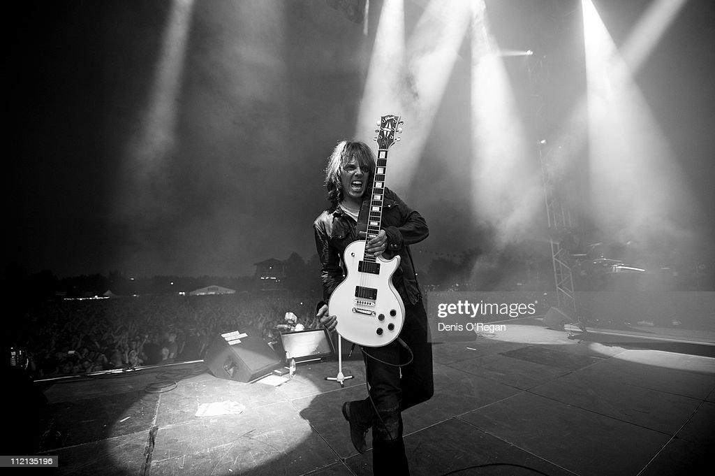 Singer Joey Tempest of Swedish hard rock band Europe live in Sweden, February 2010.