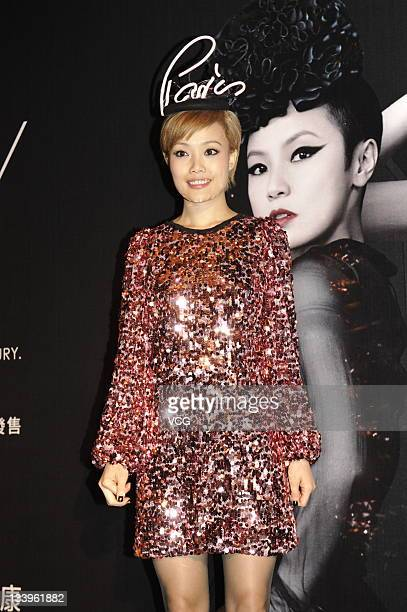 Singer Joey Yung attends Wyman Wong concert press conference at No1 Austin Road West on November 22 2011 in Hong Kong Hong Kong