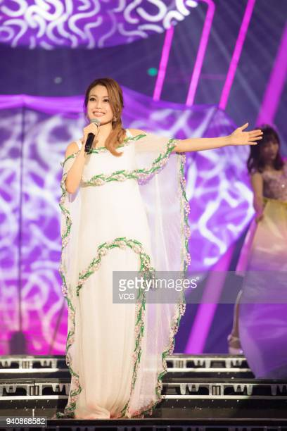 Singer Joey Yung performs during a launch ceremony of OPPO R15 on March 31 2018 in Shenzhen Guangdong Province of China
