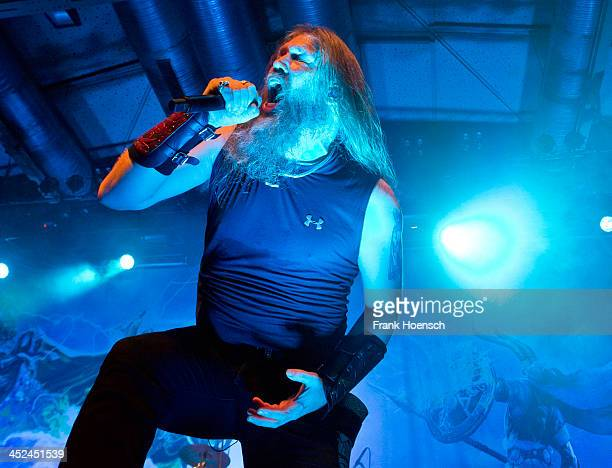 Singer Johan Hegg of the Swedish band Amon Amarth performs live during a concert at the Columbiahalle on November 27 2013 in Berlin Germany