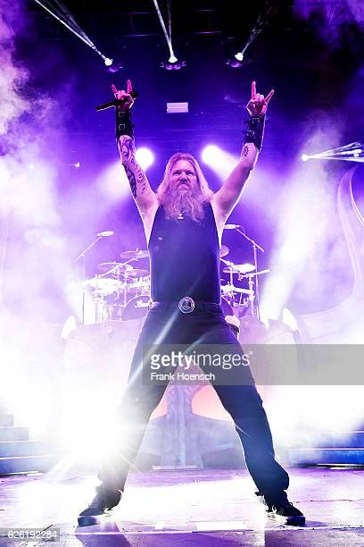 Singer Johan Hegg of the Swedish band Amon Amarth performs live during a concert at the Columbiahalle on November 27 2016 in Berlin Germany