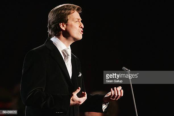 Singer Johannes Kalpers performs at the main rehearsal hours before the Jose Carreras Gala December 15 2005 in Leipzig Germany