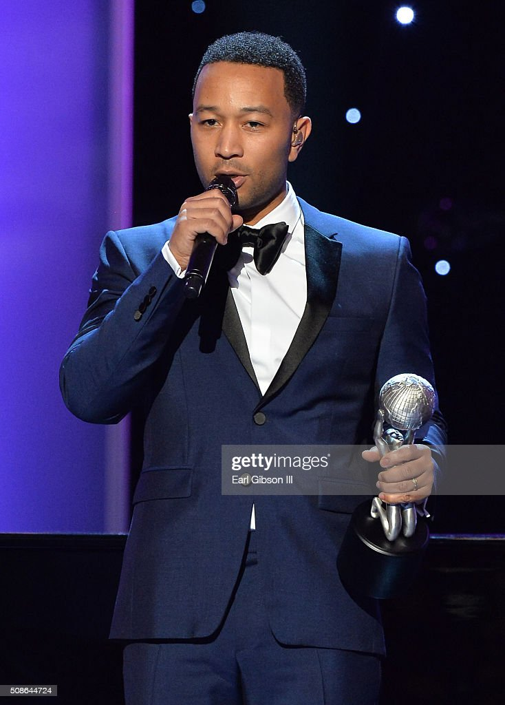 Singer John Legend accepts the President's Award onstage during the 47th NAACP Image Awards presented by TV One at Pasadena Civic Auditorium on February 5, 2016 in Pasadena, California.