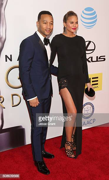 Singer John Legend and actress Chrissy Teigen attend the 47th NAACP Image Awards presented by TV One at Pasadena Civic Auditorium on February 5 2016...