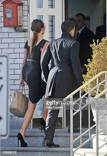 Singer John Legend and Chrissy Teigen attend the funeral service for Heavy D at Grace Baptist Church on November 18 2011 in Mount Vernon New York