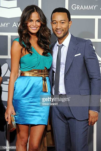 Singer John Legend and Christine Teigen arrive at The 53rd Annual GRAMMY Awards held at Staples Center on February 13, 2011 in Los Angeles,...