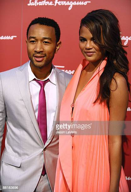 Singer John Legend and guest attend Ferragamo's Benefit for the L'Aquila Earthquake Victims at Ferragamo Boutique on June 2, 2009 in Beverly Hills,...
