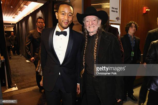 Singer John Legend and musician Willie Nelson attend the 56th GRAMMY Awards at Staples Center on January 26 2014 in Los Angeles California