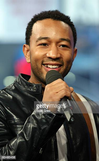 Singer John Legend appears onstage during MTV's Total Request Live at the MTV Times Square Studios October 29 2008 in New York City